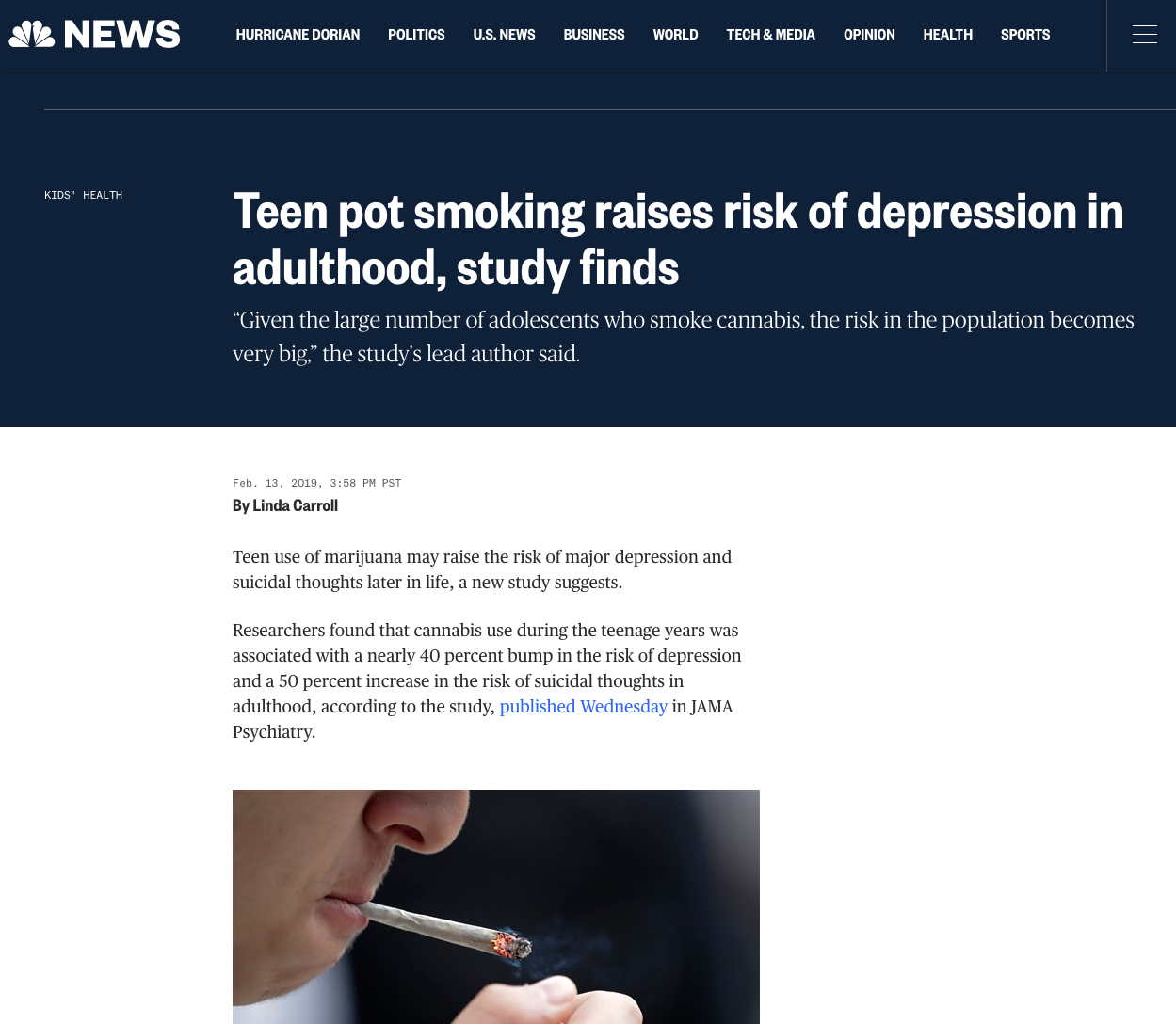 Teen pot smoking raises risk of depression in adulthood, study finds