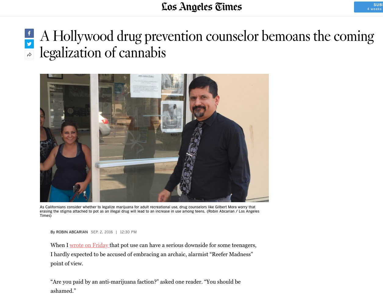 LA Times Article: A Hollywood drug prevention counselor bemoans the coming legalization of cannabis
