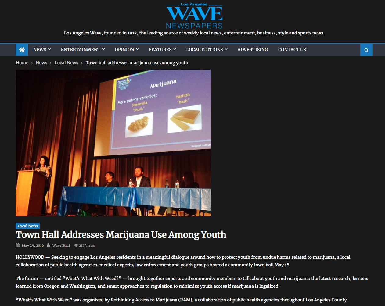 LA Wave Article: Town Hall Addresses Marijuana Use Among Youth