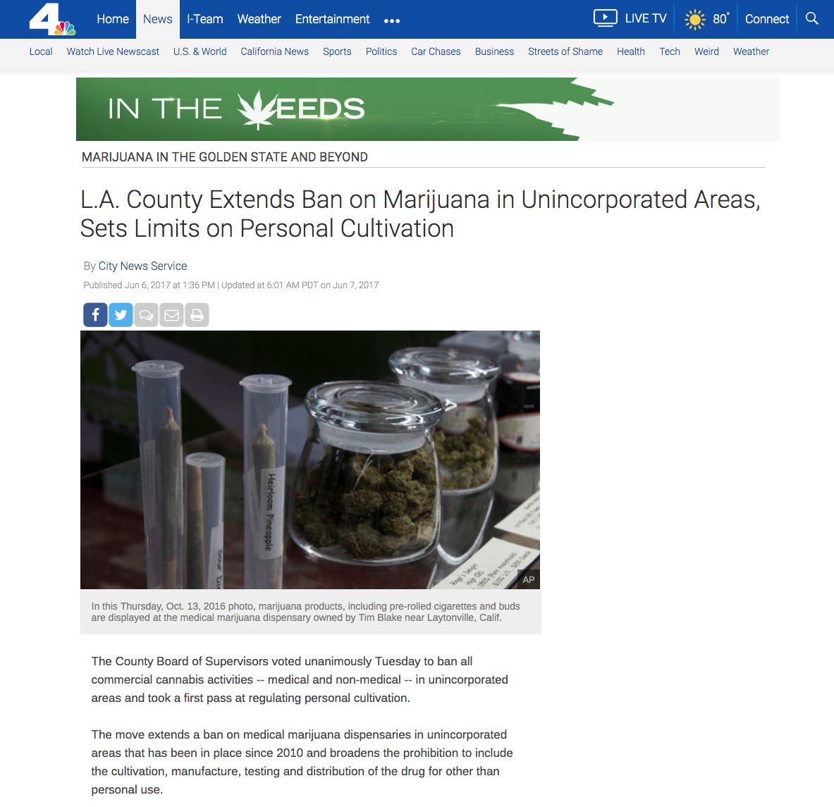 Article showing marijuana products, including pre-rolled cigarettes and buds are displayed at the medical marijuana dispensary owned by Tim Blake near Laytonville, Calif.