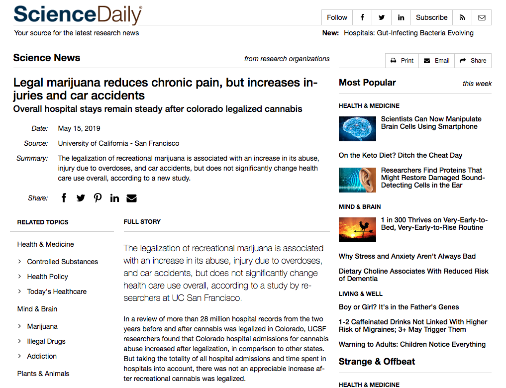 Screenshot of Article: Legal marijuana reduces chronic pain, but increases injuries and car accidents